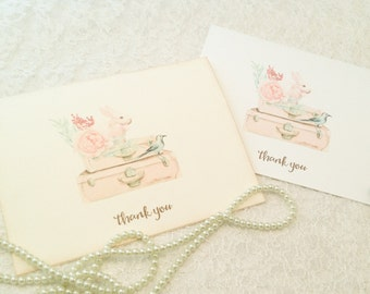 Baby Shower Thank you Note Cards-Bird Bunny Rabbit Cards-Set of 10