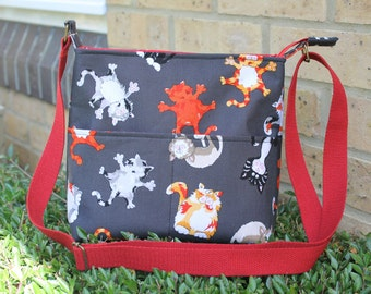 Cat bag, cat purse, crossbody bag with cats, gift for cat lover