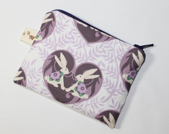 Coin purse, change purse, with bunnies in love, rabbit, hare