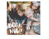INSTANT DOWNLOAD - Book Now ad -  Photography mini sessions promo design - Photoshop template - E1228