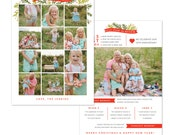 INSTANT DOWNLOAD - Christmas Holiday Card Photoshop template - A year in review - e1234