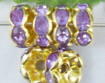 20 Light Purple Rhinestone Spacer Gold Plated 8 mm Ships From The United States - sp060