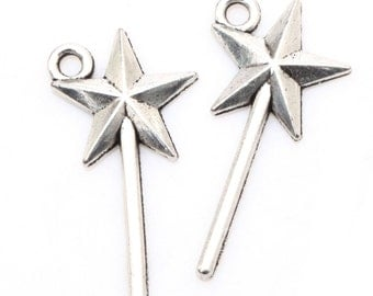 Wand Charm Star Wand Charms Bulk 40 Charms Antique Silver Tone 25 x 13 mm - ts908