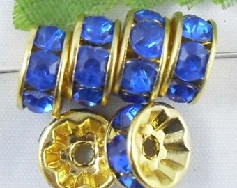 20 Sapphire Blue Rhinestone Spacer Beads Gold Plated 8 mm Ships From The United States - sp065