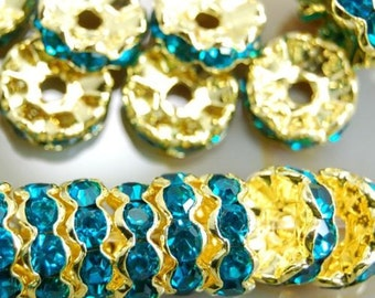 20 Rhinestone Beads Blue Beads Gold Plated 8 mm Ships From The United States - sp067