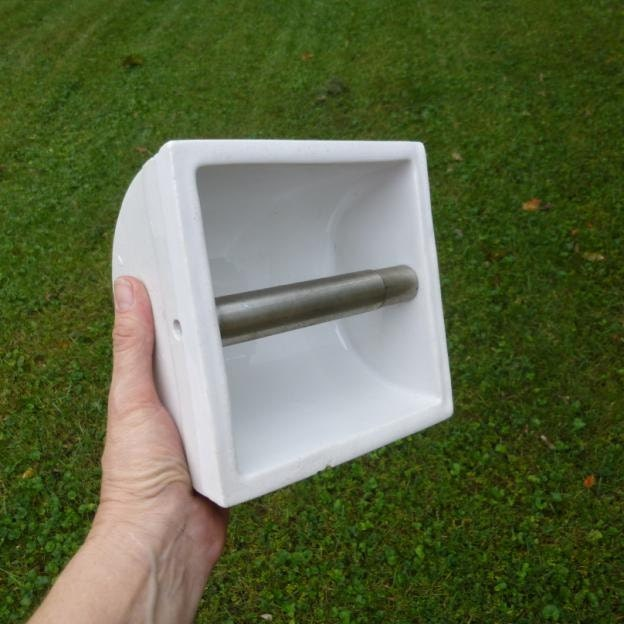 Glossy White Ceramic Recessed Toilet Paper Holder
