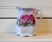 Antique German Rose Creamer Small Shabby Pitcher