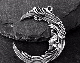 Pewter Woman in the Moon Pendant -- Celestial Jewelry