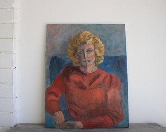 Retro Vintage Art // Oil Painting // 80s // Lady Portrait Painting