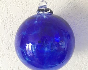 Blue Ornament, Cobalt Blue Glass, Blown Glass, Glass Ornament, Christmas Ornament, Christmas Gift, Ornaments, Hand Made