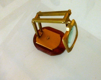 A Desk  Top Brass Magnifying Apparatus / Glass
