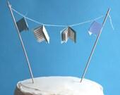 mini book baby shower cake topper - blue