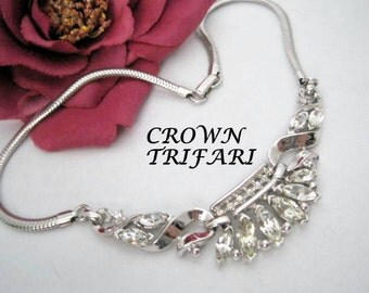 Trifari Necklace - Clear Rhinestone - Pat. Pend. Phillipe -  Wedding  Choker