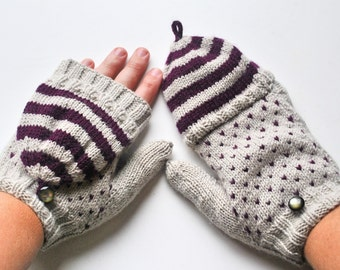 Speckles and Stripes Convertible Knitted Mittens
