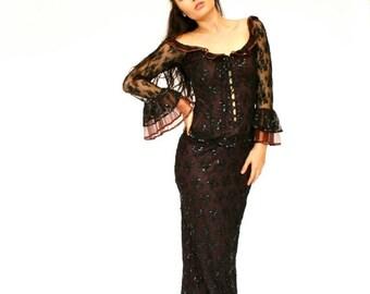 SALE 20%OFF 1890's Victorian Gothic Dress, Retro Victorian, Lady Vampire Dress, Goth Dress, Long Maxi Dress, Black Lace Dress, Corset Dress