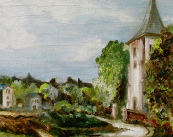 1980s Large Painting of a Countryside Church England Original Art Wall Hanging Home Decor