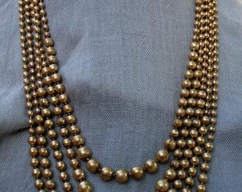 Vintage 1940s Brass 5 Strand Necklace Art Deco