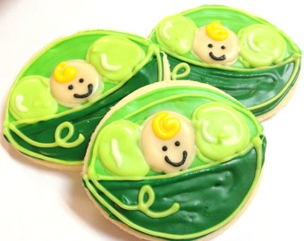 Pea Pod Sugar Cookies Peas In A Pod Baby Shower Iced Decorated Cookies Sweet Pea Shower Favors