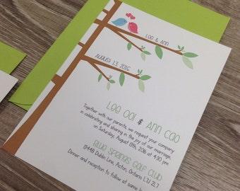 Cute Lovebird Wedding Invitation / Shabby Chic Invitation / Tree Wedding Invitation / Cute Cartoon Wedding Invitation