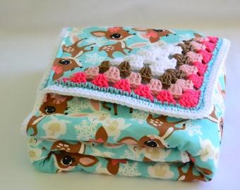 Blue deer baby blanket, crochet baby blanket, granny square blanket, reversible crochet blanket, afghan, crochet blanket, nursery decor