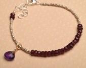 Chakra Bracelet, Yoga Bracelet, Healing Gemstone Bracelet, January Birthstone, Garnet Bracelet, Amethyst Bracelet, Hill Tribe Silver Beaded