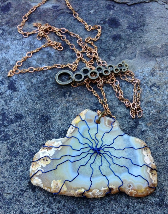 Yellow Geode Agate Blue Wire Wrapped Slice Necklace