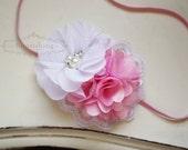 Pink and White headband, pink headbands, newborn headbands, flower headbands, photography prop