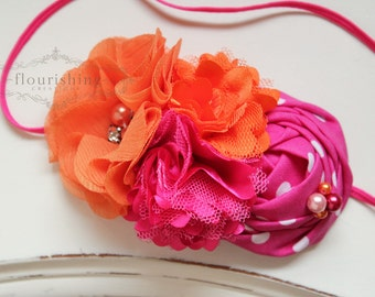 Orange and Pink headband, orange headbands, hot pink headbands, summer headbands, newborn headbands