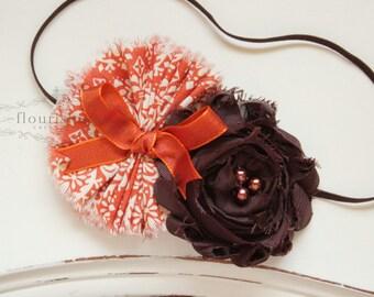 Fall Inspired ruffle headband, orange headbands, tan headbands, newborn headbands, photography prop