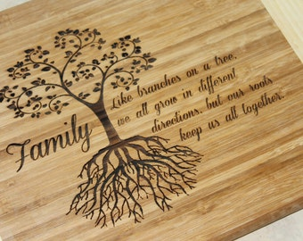 Bamboo Cutting Board Laser Engraved Family Tree of Life Theme Gift