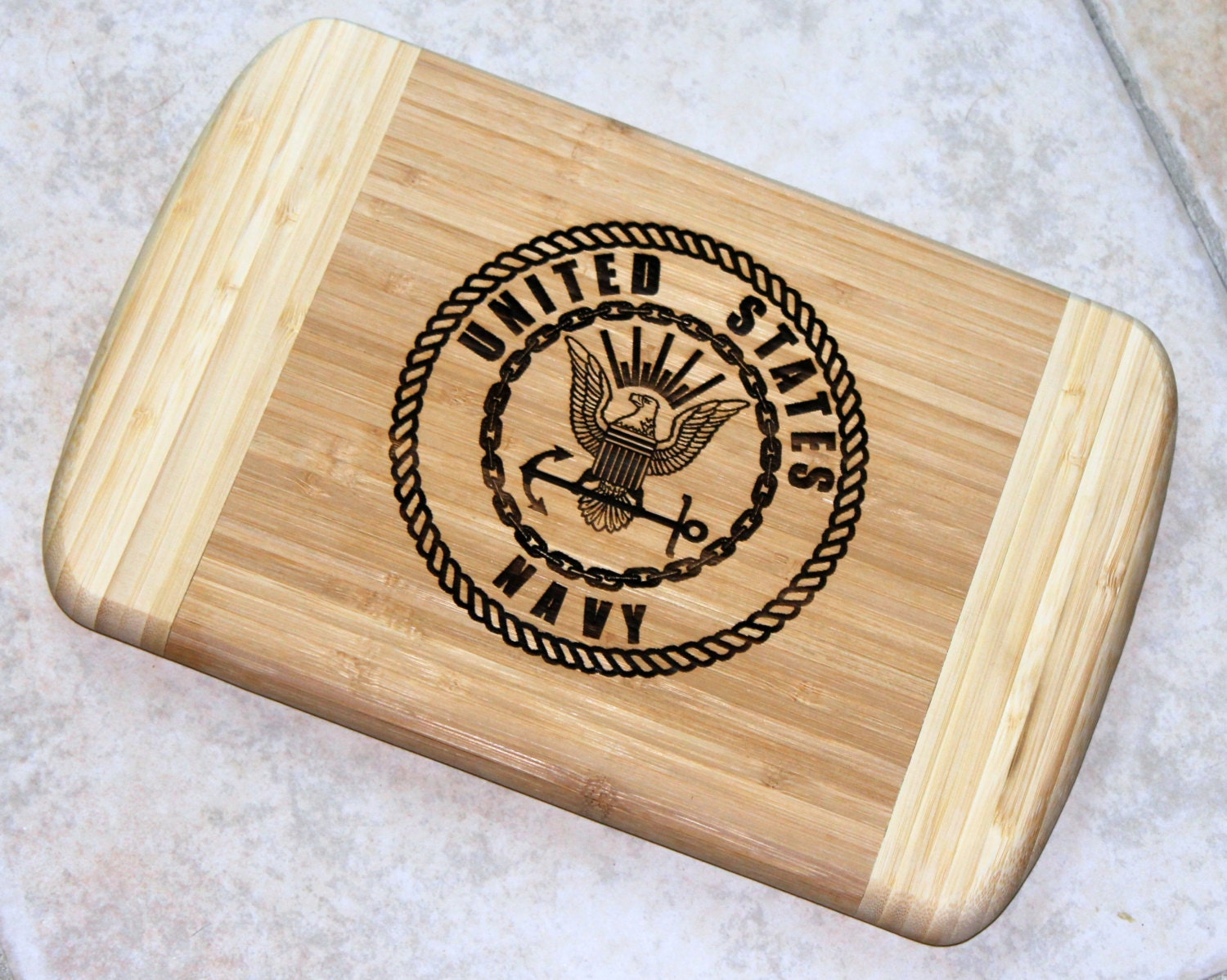 Bamboo Cutting Board With Laser Engraved Us Navy Military Logo