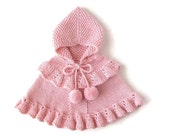 Baby Girl Knit Pink Sweater / Toddler Alpaca Hooded Poncho / Custom Cape / Ruffled Romantic Children Clothes / One Of A Kind / Made To Order