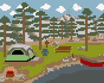 PATTERN - Camping by the Lake with Dome Tent - Counted Cross Stitch