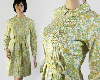 60s Dress / Shirt Dress / Peter Pan Collar / Floral Print / Mod / The Art Dress