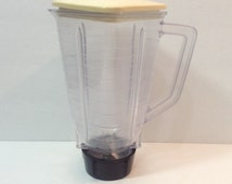 Oster Almond Plastic Blender Pitcher with Blades and Lid Used Vintage