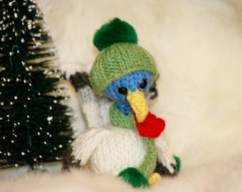 Little Knit Christmas Turkey Doll, Ornament, or Car Mirror Decor