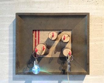 Key Hanger with Sliced Wood and Red Hooks Free LED Keychain Flashing LIghtbulb