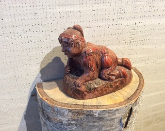 Indian Boy Eskimo Inuit Soapstone Carving Sculpture Wolf Original