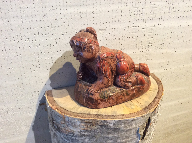 Indian boy eskimo inuit soapstone carving sculpture wolf