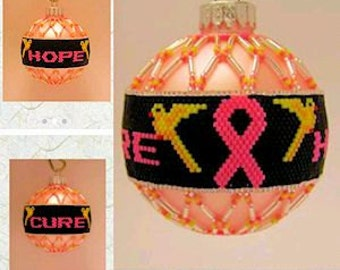 Breast Cancer Awareness Ornament; Hope and Cure; beaded ornament cover
