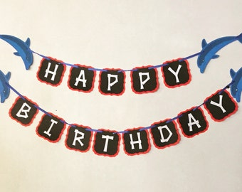 Happy Birthday Banner Dolphin Theme Paper Party Decor