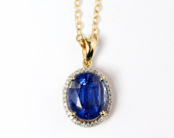 Blue Kyanite Halo Necklace – White Diamonds – 14KT Gold