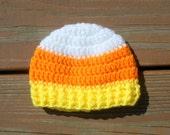 Candy Corn Hat, Costume Hat, Halloween Hat, Baby Crochet, Child Holiday Hat, Baby Boy Item, Baby Girl Item, Newborn Cap, Autumn Prop
