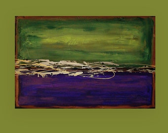 """Art Painting Abstract Acrylic Original Art on Canvas Abstract Acrylic Painting by Ora Birenbaum Titled: Purple and Olive 2 24x36x1.5"""""""