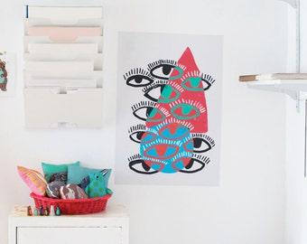 Eye Poster / Decal Poster / 18x24 / Geometric / Modern Art / Removable Wallpaper