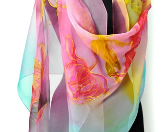 Hand painted silk chiffon scarf/Painting flowers/Long chiffon scarf/Luxury woman gift/painting red and yellow flowers/Woman accessory/S0153