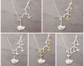 Grandma Necklace, 1-5 kids, initial necklace, grandmother, silver bird lariat, family necklace, mother necklace, baby shower, N3