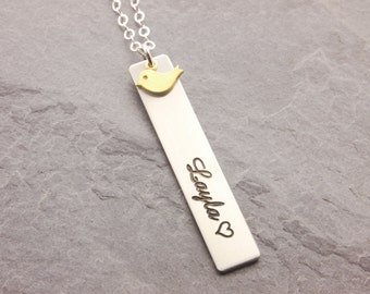 Engraved Bar Necklace, name necklace, name bar necklace, mom daughter, matching necklace, double sided, gifts for mom, mothers day, N24