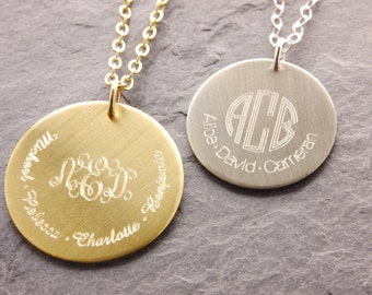 Monogram Necklace, family name necklace, family necklace, monogram pendant, double sided engraving, grandma necklace, gold disc, N17