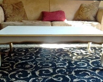 White and Gold Trim Rectangle French Hollywood Regency Coffee Table